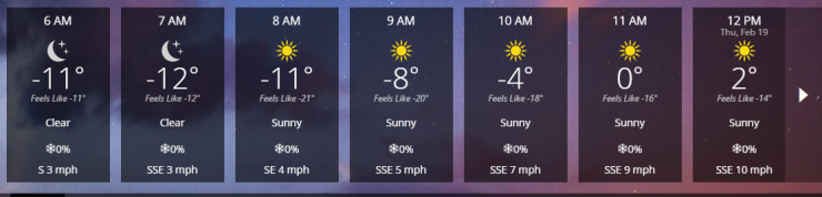 "Today's weather forecast, folks.  Note the ""feels like"" below the main temperature."