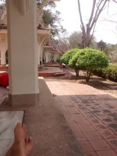 The spot where I had my lunch and read. There were quite a few of these awnings--offering protection from the hot Thailand sun--and many people were relaxing under them the day I was there.