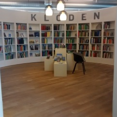 "Loved this circular reading area in the center of the library. Upon further investigation, Google Translate tells me ""Kloden"" is Danish for ""Globe"""