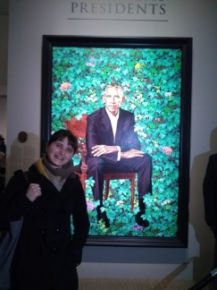 Visiting Obamas's portrait at The National Portrait Gallery